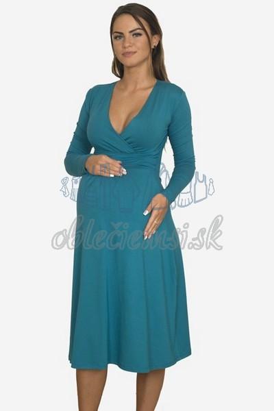 áčkové balnené šaty s riasením – oceľovomodrá 3