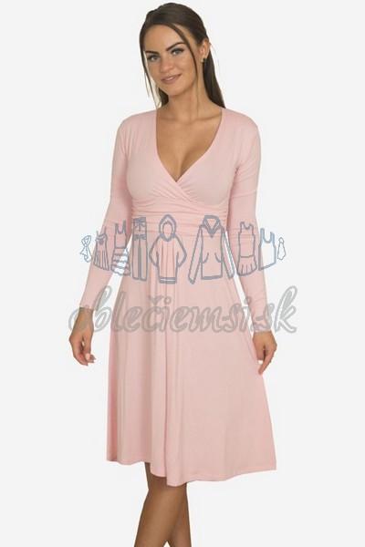 áčkové balnené šaty s riasením – pudrová 1