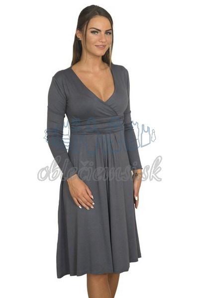 áčkové balnené šaty s riasením – tmavosivá 1