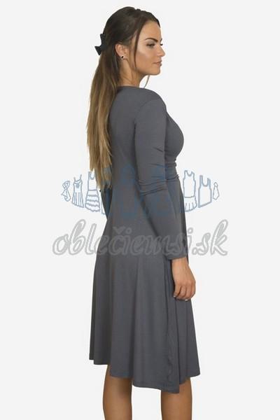 áčkové balnené šaty s riasením – tmavosivá 2