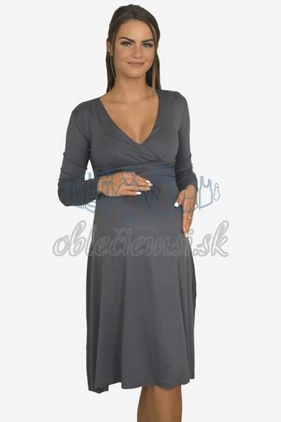 áčkové balnené šaty s riasením – tmavosivá 3
