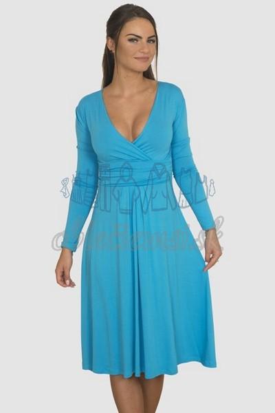 áčkové balnené šaty s riasením – tyrkys 1