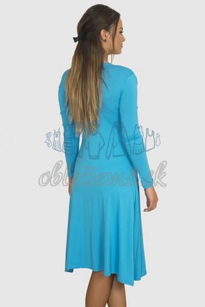áčkové balnené šaty s riasením – tyrkys 2