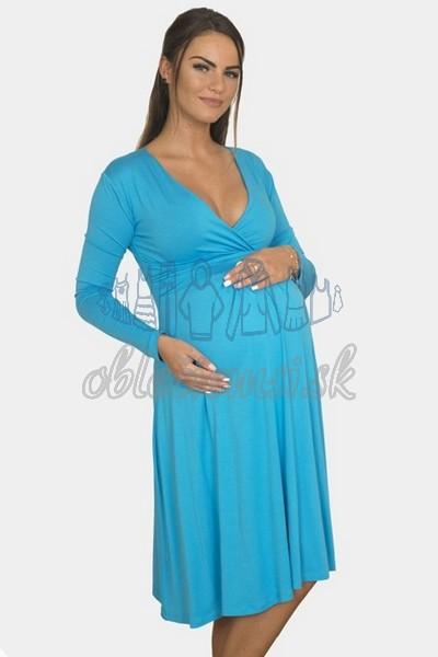 áčkové balnené šaty s riasením – tyrkys 3