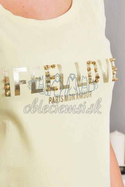 basic tričko s cvokmi – žltá 2