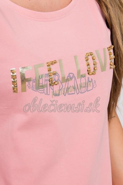 basic tričko s cvokmi – ružová 3