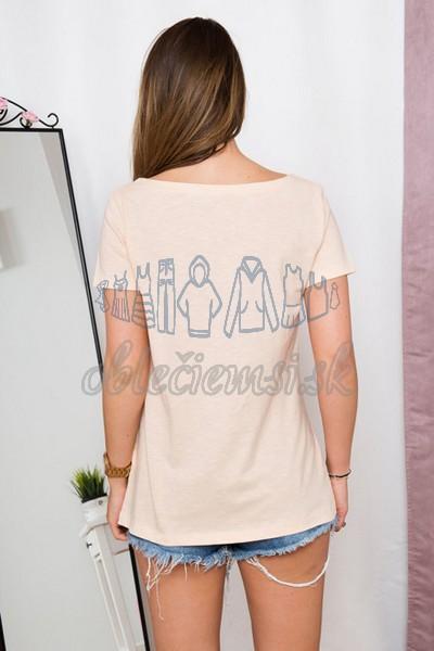 basic tričko s potlačou – broskyňová 2