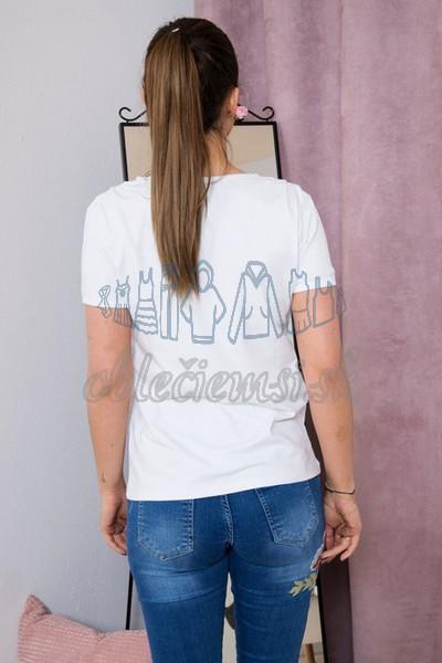 basic tričko s véčkovým výtrihom – biela 2