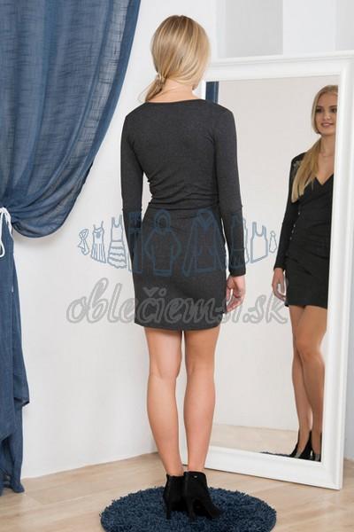 ležérne šaty s véčkovým výstrihom – tmavosivá 2