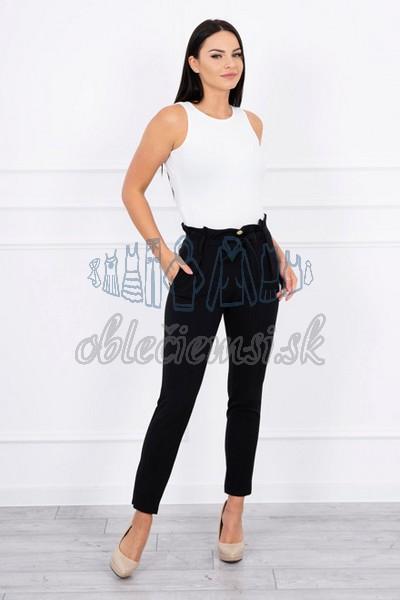 cc9504d096b8 elegantné nohavice s viazaním v páse – čierne 1