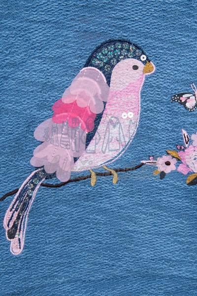 Mikina s vtákom modrá 3