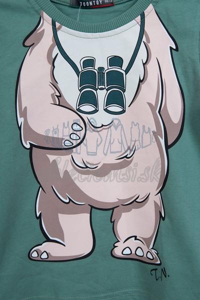 Tričko s medveďom svetlozelená 3