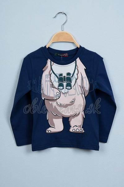 Tričko s medveďom tmavomodrá 1