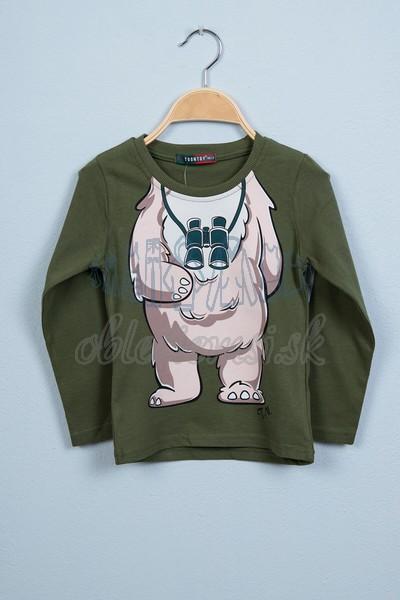 Tričko s medveďom tmavozelená 1