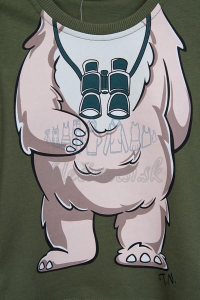 Tričko s medveďom tmavozelená 3