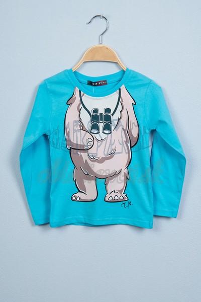 Tričko s medveďom tyrkys 1