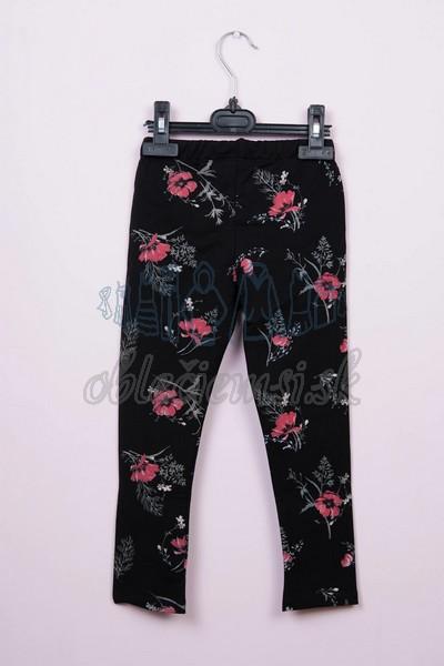 kvetované legíny čierna 3